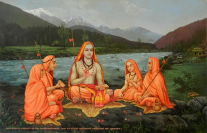 Adi Shankara With Disciples